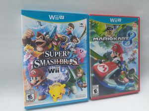 Super smash bros mario kart 8 lot wii u games for Sale in South Gate, CA