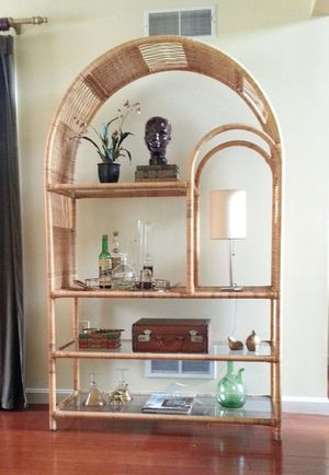 Rare Mid-Century Rattan Etagere / Bookshelf / Display Case With Glass Shelves ~ Vintage Wall Shelf Unit Large Open Room Divider for Sale in New York, NY