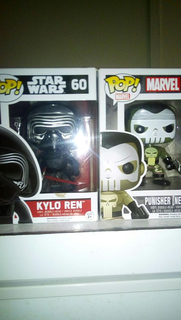 Pop! Kylo Ren and punisher nemesis bobbleheads