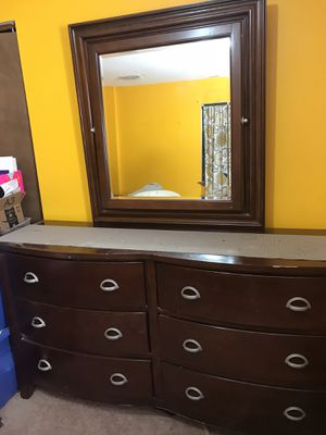 Large 3pc cherrywood dresser mirror and nightstand for Sale in District Heights, MD