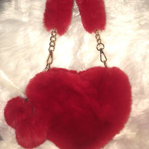 Red Heart Shaped Furr Handbags for Sale in Newport News, VA