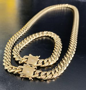 Cuban link set real gold bonded in stainless steel no change color for Sale in Miramar, FL