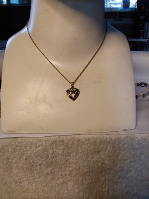 Gold over 925 Sterling ruby pendant and chain for Sale in Willow Street, PA