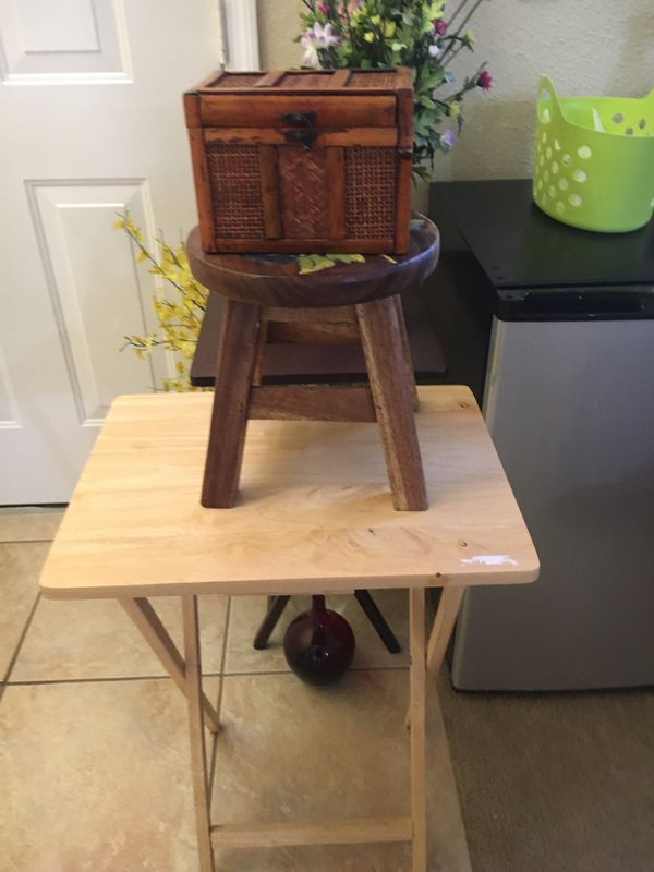 "Wooden step stool 10"" with small wooden box 7.1/2"" x 5.1/2"""