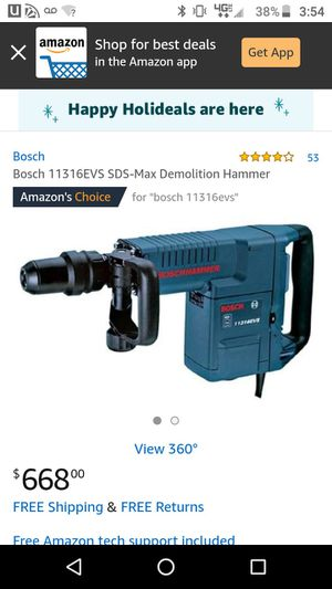 Demolition Bosch hammer drill and includes 10 tips for Sale in Santa Ana, CA