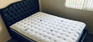 Black bed Frame with queen mattress new for Sale in Los Angeles, CA