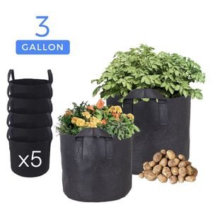 3 Gallon 5-Pack Planting Grow Bags Black Fabric Grow Pots for Hydroponic Indoor Plant Growing Plant Bag for Sale in Ontario, CA