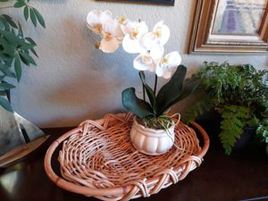 Woven tray and faux orchid. for Sale in Seattle, WA