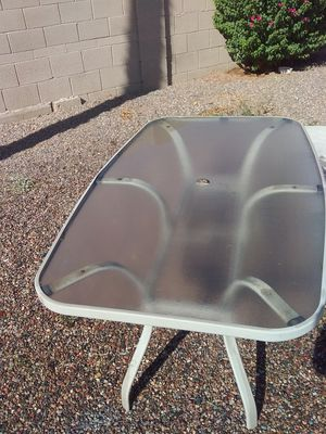 Glass patio table with umbrella holder for Sale in Apache Junction, AZ