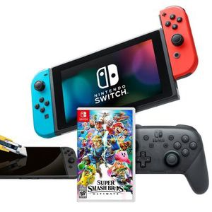 Nintendo Switch Neon Joy-Con Super Smash Bros. Ultimate and Accessories System Bundle for Sale in San Francisco, CA