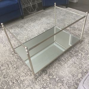 Pewter Glass / Mirrored Coffee Table for Sale in Plainfield, IL