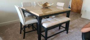 Brand New in the box- Cream Hightop table set with bench for Sale in Jonesboro, GA