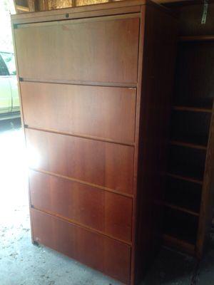 5 drawer dark wood filing cabinet for Sale in Caledonia, MI
