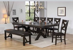 BEAUTIFUL KELLY 8 PC DINING TABLE WITH 6 CHAIRS AND BENCH. FALL SALE EVENT BLOWOUT!!! SAME DAY DELIVERY! NO CREDIT CHECK FINANCING WITH ONLY $40 DOWN! for Sale in St. Petersburg, FL
