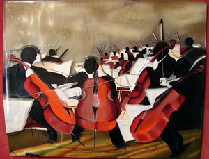 Orchester , H 15 W 18, exceptional original glass painting by Georgies for Sale in Chandler, AZ
