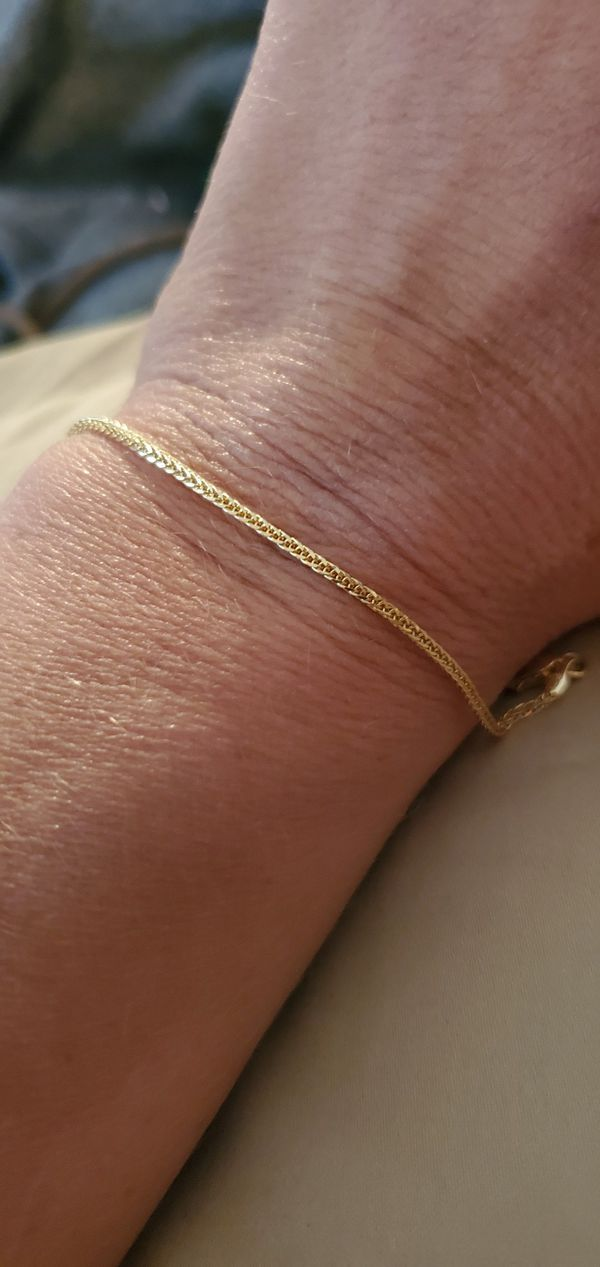 Solid 14k 585 pure glld wheat(spiga) chain bracelet 7 1/2 inches long