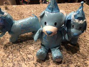 1st birthday boy stuffed bear 🐻 and dog 🐶 autograph it for Sale in Fresno, CA