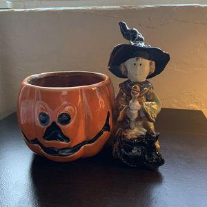 Halloween Pumpkin Witch Planter Bowl for Sale in Tucson, AZ
