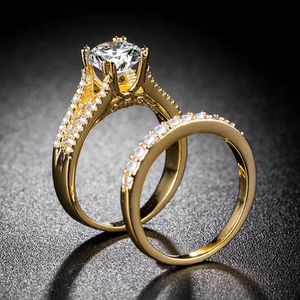 18K Gold plated Wedding Band/Engagement Ring set- NH6 for Sale in Sacramento, CA