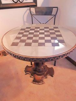 ANTIQUE ONE-OF-A-KIND chessboard TBL for Sale in Kansas City, MO