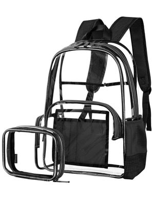 Clear Backpack for Women and Men Fit 15.6 inch Laptop Bookbag Transparent Daypack with Accessory Bag for Travel Work Outdoor Activities,Black for Sale in Paramount, CA