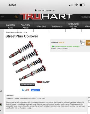 Brand New TruHart Coilovers for Sale in Ruskin, FL