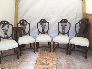 5 antique chairs nice condition also two capt chairs for set of seven. $250.00 for Sale in Seattle, WA