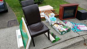 **Free items** crib with mattress, play table, electric fireplace, subwoofer, kids items. for Sale in Bonney Lake, WA
