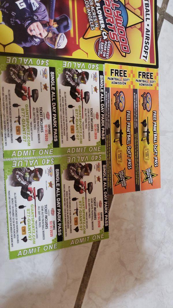 Paint ball tickets