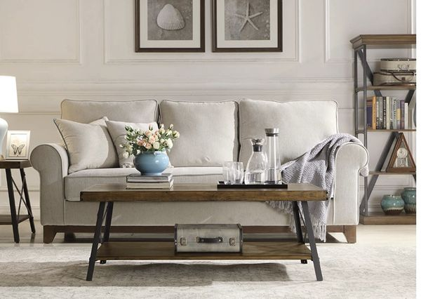 Home Chandler Rustic Industrial Solid Wood and Steel Coffee Table with Open Shelf