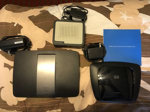 2 LINKSYS Wireless Routers & 1 RCA Modem for Sale in Franklin, KY