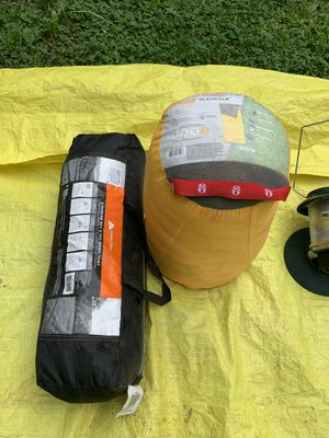 Camping equipment: cooking stove, lantern, sleeping bag, and 4 person tent. for Sale in Chesterfield, VA