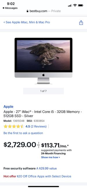 "Apple iMac 2019 27"" 5K i5 3GHz 64GB DDR4 500GB SSD for Sale in Andover, MA"