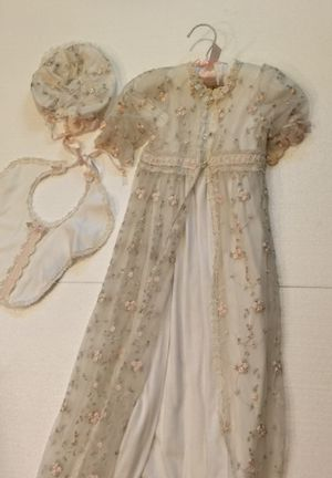 Used, Size Medium Boutique Baby Beau and Belle Christening Gown with Bib Dress and Hat for Sale for sale  Hollywood, FL
