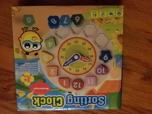 Kid toy Wooden Shape Sorting Clock New Sealed unopened see photos