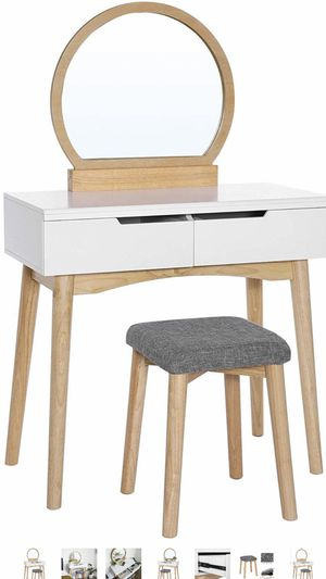 Vanity Table Set with Round Mirror 2 Large Drawers with Sliding Rails Makeup Dressing Table with Cushioned Stool, Natural and White(Brand New in the for Sale in Corona, CA