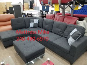 Black gray linen sectional storage Ottoman and pillows for Sale in Beltsville, MD