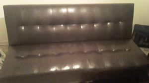 Black genuine leather futon for Sale in New Orleans, LA