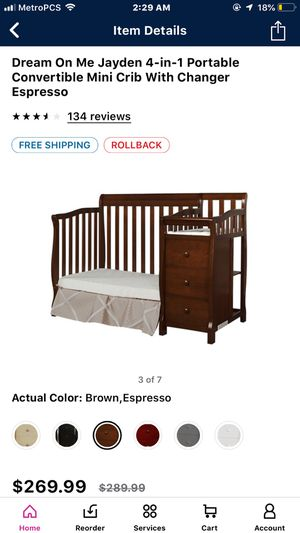 Crib in brown with changing table for Sale in Indian Orchard, MA