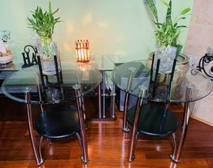 Elegant black stainless side tables sturdy shiny and clean 26 inches diameter 25 tall both for $110 for Sale in Lake Elsinore, CA