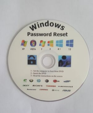 DVD Windows Password Reset compatible with Microsoft Windows XP , Vista,7,8.8.1 and 10 for Sale in Freehold, NJ
