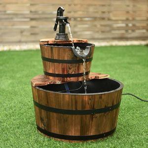 2 Tiers Outdoor Wooden Barrel Waterfall Fountain With Pump OP3550 for Sale in Laguna Hills, CA