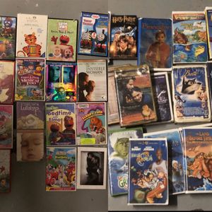 Classic VHS and DVD movies especially for kids, includes Space Jam, Harry Potter, Casper, Land Before Time, Baby Einstein and others for Sale in Novato, CA