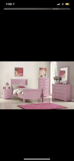 BRAND NEW 5 PCS TWIN BEDROOM SET PINK for Sale in Queens, NY