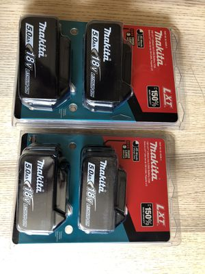 Four makita 5.0 batteries for Sale in Castro Valley, CA