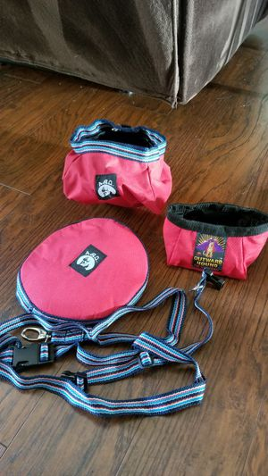 Collapsible dog dishes and matching collar and leash for Sale in Lynnwood, WA