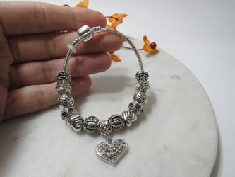Luxury Bracelet Silver Plating Heart Charm Crystal Beads Bracelets for Sale in Los Angeles,  CA
