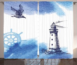 "Curtains 108""W x 84""L Lighthouse Nautical Decor Print Backdrop 19656 for Sale in Orlando, FL"