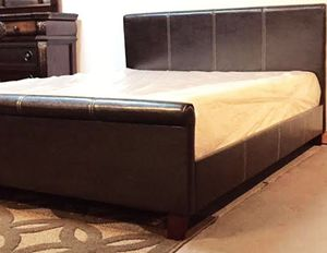 Full brown sleigh style bed with mattress and free delivery for Sale in Austin, TX