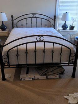 Metal Bonze Queen Bed Frame + Queen Mattress for Sale in Durham,  NC